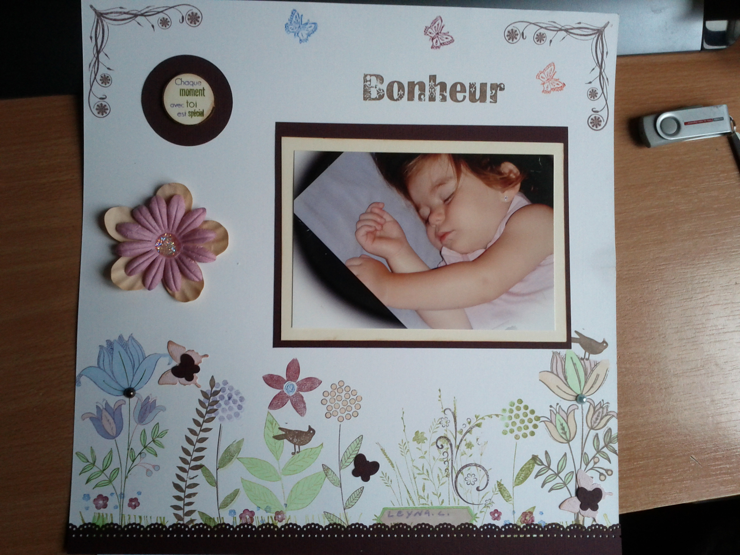 Page florale scrapbooking
