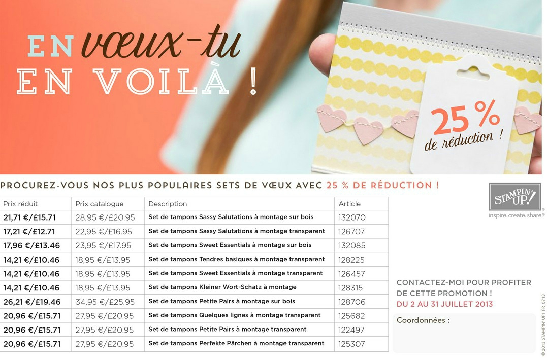 Promotion tampons stampin up juillet 2013