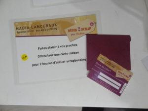 offrez des cartes cadeaux ateliers 2h à vos proches sur www. desir2scrap.fr