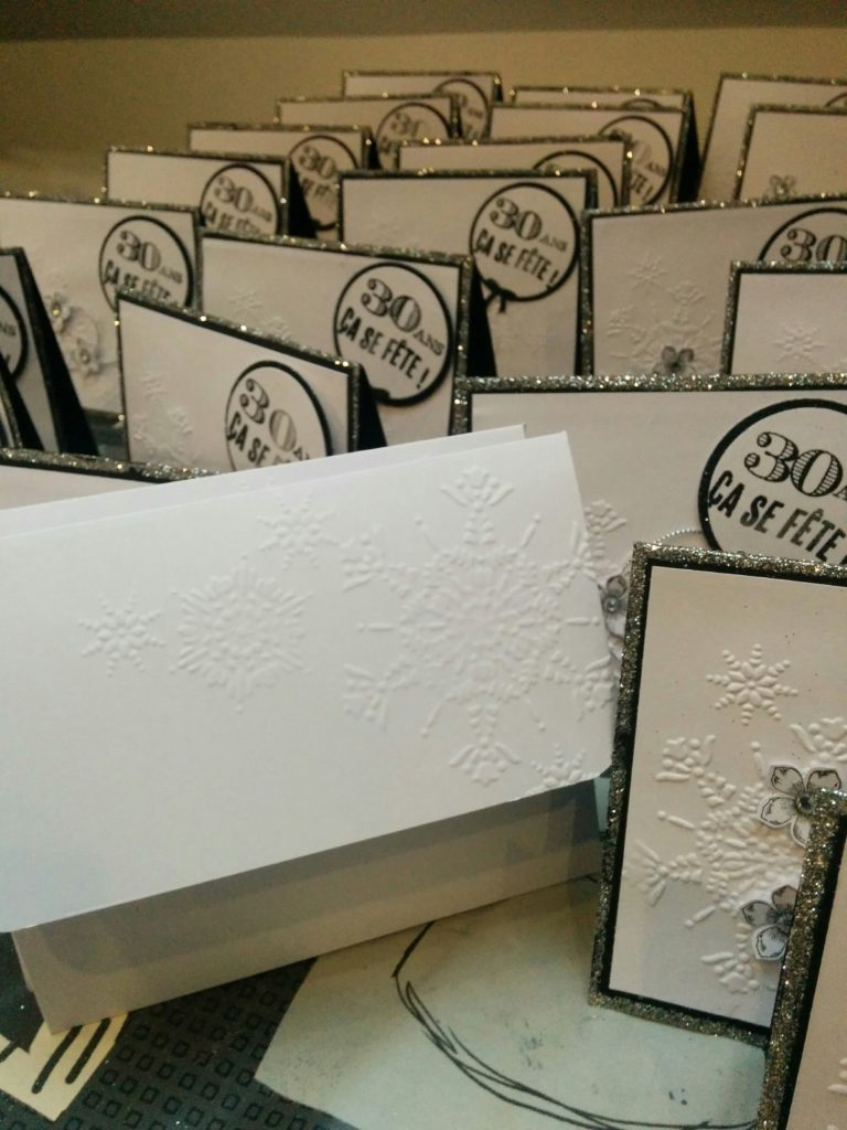 Cartes d'invitation pour un anniversaire, noir, blanc argent! produits stampin'up! commande personnalisée scrapbooking!