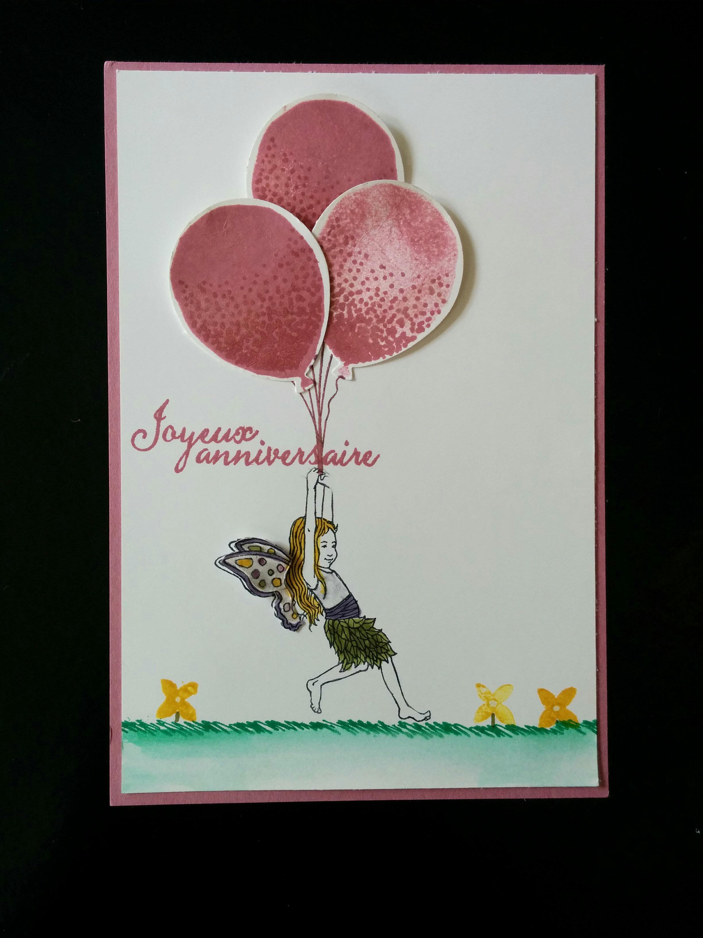 petite carte avec le set de tampons poussière de fée, bouquet de ballons stampin'up