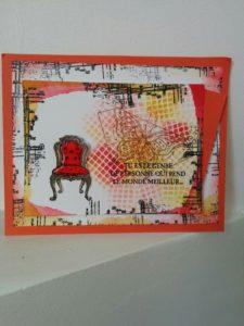 une carte avec le set de tampons stampinup Dans ce monde! j'adore la forme de la chaise!