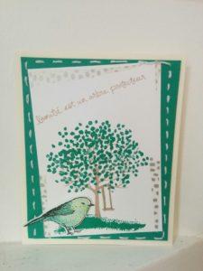 set de tampon stampin'up arbre protecteur et set de tampon envolée de voeux