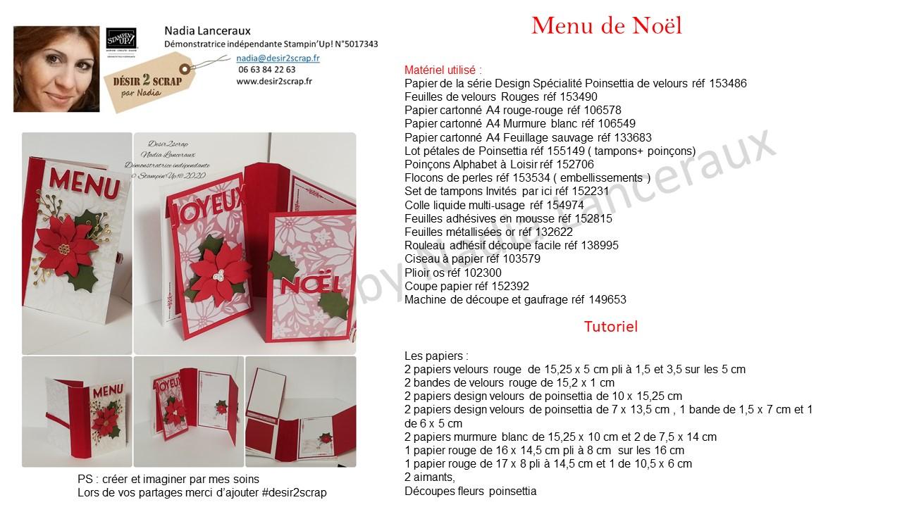 tutoriel menu de noel stampinup poinsettia